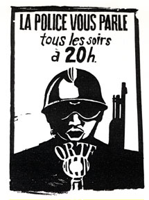 Black and white image of Authoritarian police figure speaking into a French state-owned television station microphone.
